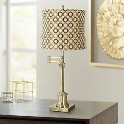 Traditional Swing Arm Desk Table Lamp Brass Copper Circles S