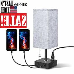 USB Bedside Table & Desk Lamp with Dual USB Port and Outlet