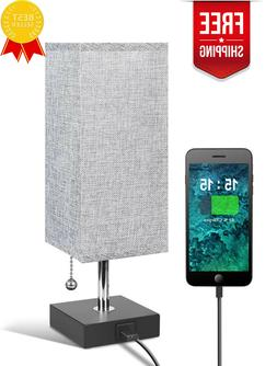 USB Table Desk Lamp Grey Bedside Nightstand Lamp with USB Ch