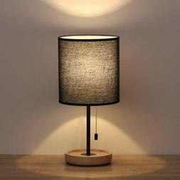 HAITRAL Wooden Table Lamps Black Bedside Bedroom Desk Lamp w